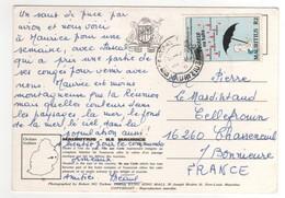 Beau Timbre , Stamp  Sur Cp , Carte , Postcard Pour La France - Maurice (1968-...)