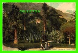 MONTE CARLO, MONACO - GROUPE DE PALMIERS - ANIMÉE D'UNE CHAISE ROULANTE - CIRCULÉE EN 1908 - - Monte-Carlo
