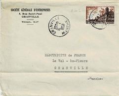 TP N° 1042 Seul Sur  Enveloppe De La S.G.E De  Granville - 1921-1960: Période Moderne