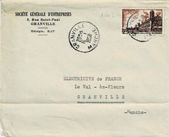TP N° 1042 Seul Sur  Enveloppe De La S.G.E De  Granville - 1921-1960: Modern Tijdperk