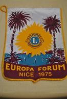 Rare Fanion Lion's Club Europa Forum Nice 1975 - Organizations
