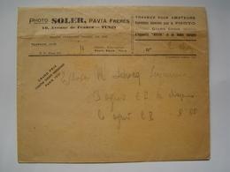 ENVELOPPE Ancienne : PHOTO SOLER / TUNIS / GRAND PRIX PARIS 1931 - Publicités