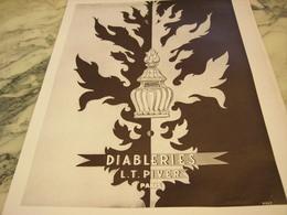 ANCIENNE PUBLICITE EAU DE COLOGNE DIABLERIES DE  L.T PIVER 1951 - Parfums & Beauté