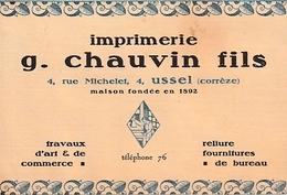 USSEL (19) - IMPRIMERIE - G. CHAUVIN Fils - Imprimerie & Papeterie