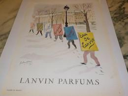 ANCIENNE PUBLICITE PARFUM DE LANVIN 1951 - Parfums & Beauté