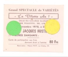 """LIEGE """"La Villette"""" Carte D'entrée Soirée Du 7 Novembre 1970, Bal, Vedette Jacques Hustin, Dos Pub Café Chat Noir (b243) - Tickets D'entrée"""