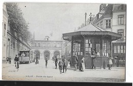 LILLE  PORTE DE GAND  TRAMWAY  PERSONNAGES    TIRAGE 1900  DEPT 59 - Lille