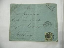 BUSTA FRANCOBOLLO 300 REIS BRAZIL  TIMBRO SAN PAOLO BELLANO COMO 1885 - Brasil