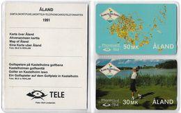 Aland - Aland - 4FINA-B - Golf & Map (2 Old GPT Mint Cards In Folder) - Aland