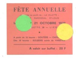"""LIEGE """"La Villette"""" Carte D'entrée Fête Annuelle Du 21 Octobre 1972, Variétés, Souper, Dos Pub Café Chat Noir (b243) - Tickets D'entrée"""