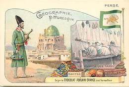 CH125 -chromo 10,5cms X 7cms - Chocolat Poulain Orange - Geographie Pittoresque -perse -iran - Tapis -markets - - Poulain