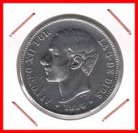 ESPAÑA MONEDA DE ALFONSO XII. 5 PESETAS PLATA 1885 ESTRELLAS -- *18*87 - Primeras Acuñaciones