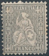 1881 - No 41 Fiber Paper ( No Gum) - 1862-1881 Helvetia Seduta (dentellati)