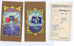 NAVIGAZIONE LIBERA TRIESTINA - TRIESTE VENEZIA - BIGLIETTO DI PASSAGGIO 1920s - Biglietti Di Trasporto