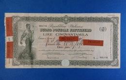 REPUBBLICA ITALIANA BUONO POSTALE FRUTTIFERO LIRE CINQUANTAMILA 50.000 ANNO 1980 - Banca & Assicurazione