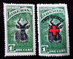 1918 Liberia Yt 140, 153 . Country Symbols 1918 Issue .  Croix Rouge . Neufs Traces Charnières - Liberia