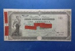 REPUBBLICA ITALIANA BUONO POSTALE FRUTTIFERO LIRE CENTOMILA 100.000 ANNO 1982 - Banca & Assicurazione