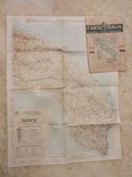 6) PUGLIA FOGLIO 44 LECCE CARTA D'ITALIA DEL TOURING CLUB COMPLETO DI INDICE E BUSTA IN CARTA PERGAMENACEA - Cartes Topographiques