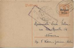 PR6137/14-18 Entier CP 8 C C.ambulant Virton-Houyet 1918 Censure Dinant V.Namur C.d'arrivée - Guerre 14-18