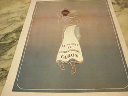 ANCIENNE PUBLICITE POUDRE ET SOUS POUDRE DE CARON 1953 - Parfums & Beauté