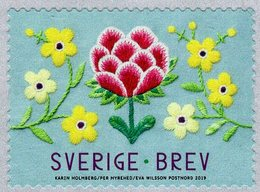 Sweden - 2019 - The Power Of Handicrafts - Floral Edging - Mint Self-adhesive Coil Stamp - Suecia