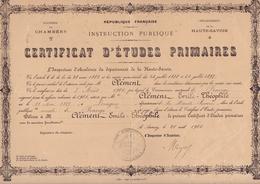 ACADEMIE CHAMBERY / HAUTE SAVOIE / FRANGY  / CERTIFICAT D ETUDES PRIMAIRES 1901/ MR CLEMENT EMILE THEOPHILE - Diplômes & Bulletins Scolaires
