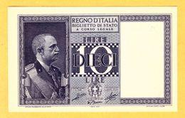 ITALY 10 LIRE, BIGLIETTO DI STATO - 1944 FDS - Pick 25c - [ 1] …-1946 : Royaume