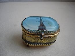 TOUR EIFFEL Boite En Verre Biseauté Probablement Expo 1889 - Boxes