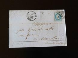 LETTRE DE SOTTEVILLE LES ROUEN POUR MARSEILLE  -  1871  - - Storia Postale