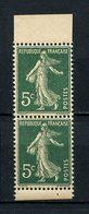 FRANCE 1907  N° 137c ** Neufs MNH Superbes C 37 € Semeuse Fond Plein Paire Du Carnet - France