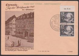 """Chemnitz Tag Der Briefmarke 19149 FDC DDR 245(2), Lupe Mit Bayern Schwarzer Einser, Gasthof Zum """"Blauen Engel"""" - DDR"""