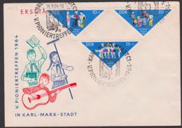 Pioniertreffen Karl-Marx-Stadt, Chemnitz 1964 DDR 1045/46 Gest. Kpl. Junge Pioniere, Dreieckmarken, SoSt. - Usados