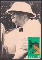 MC Albert Schweitzer Humanist Missionsarzt 10 Pf. DDR 1084, Schweitzer Mit Tropenhut Foto - DDR