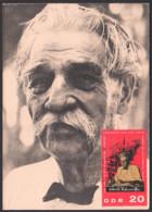 MC Albert Schweitzer Humanist Missionsarzt 20 Pf. DDR 1085, Schweitzer Ohne Tropenhut Foto SoSt. 90. Geburtstag - DDR