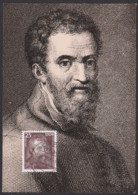 MC Michelangelo Buonarrioti 25 Pf. DDR 2028, Offiz. Karte Mit Stich Und Rs. Beschreibung Ausführlicher Text - [6] République Démocratique
