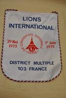 Rare Fanion Lion's Club 24 Eme Convention Nationale Paris 1975 - Organizaciones