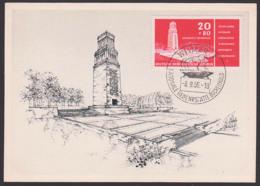 MC Buchenwald Gedenkstätte Glockenturm 20+80 Pf. DDR 538, Offiz. Ansichtskarte Ungelaufen, FDC - Cartas Máxima