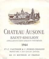 ETIQUETTE De VIN  Château AUSONE SAINT-EMILION 1964 Vve C.VAUTHIER  &  J.DUBOIS-CHALLON - Bordeaux