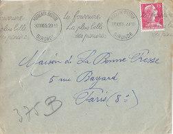 Bordeaux Bastide , Gironde , Flamme Krag La Fourrure,la Plus Belle Des Parures ,lettre De 1955 - Storia Postale