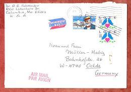 Luftpost, MiF Langley U.a., Columbia Nach Oelde 1991 (68566) - Brieven En Documenten