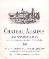 ETIQUETTE De VIN  Château AUSONE SAINT-EMILION 1966 Vve C.VAUTHIER  &  J.DUBOIS-CHALLON - ETAT = Voir Description - Bordeaux