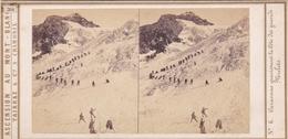 Carte Stéréoscopique .   N° 6.  Caravane Gravissant La Côte Des Grands Mulets. - Chamonix-Mont-Blanc