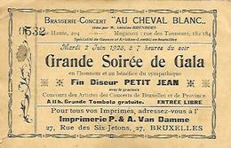 """BRUXELLES  Brasserie-concert """" Au Cheval Blanc """" Carte D'entrée Soirée De Gala Du 2 Juin 1925 - Tickets D'entrée"""