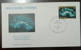 L) 1980 NEW CALEDONIA, FLUORESCENT CORALS, MARINE LIFE, BLUE, 60C, FDC - FDC