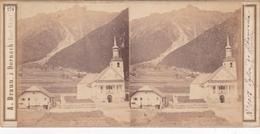 Carte Stéréoscopique .   N°  1017  Eglise De Chamounix  Et Le Brévent. - Chamonix-Mont-Blanc