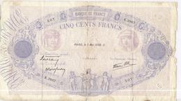 500 Francs Bleu Et Rose 5 Mai 1938 - Voir Photos - 1871-1952 Anciens Francs Circulés Au XXème