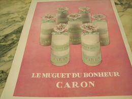 ANCIENNE PUBLICITE  PARFUM LE MUGUET DU BONHEUR DE CARON 1953 - Parfums & Beauté
