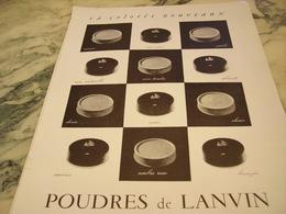 ANCIENNE PUBLICITE POUDRE DE LANVIN 1953 - Affiches
