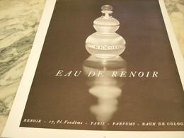 ANCIENNE PUBLICITE PARFUM  EAU DE RENOIR  1953 - Parfums & Beauté