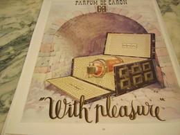 ANCIENNE PUBLICITE PARFUM  WITH PLEASURE DE CARON 1952 - Parfums & Beauté